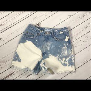 Size 8 acid wash high waist denim cutoff shorts